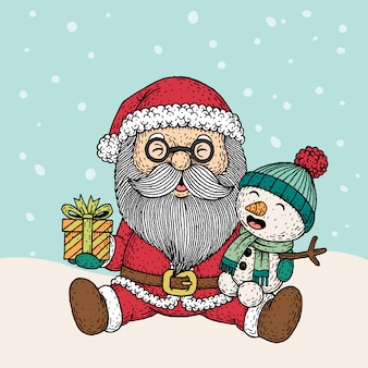 Dibujado a mano santa claus y muñeco de nieve en navidad