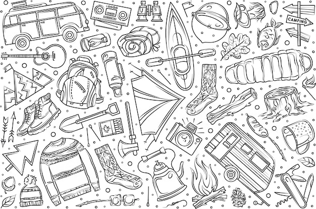 Dibujado a mano senderismo y camping set doodle