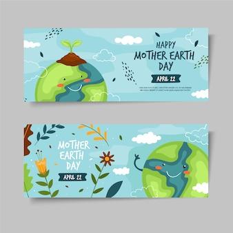 Dibujado a mano set banner del día de la madre tierra