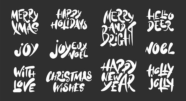 Dibujado a mano set vacaciones de navidad y año nuevo