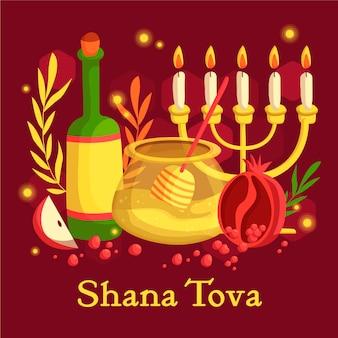 Dibujado a mano shana tova con vino y velas