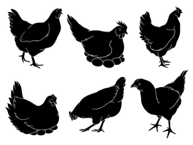 Dibujado a mano silueta de gallina