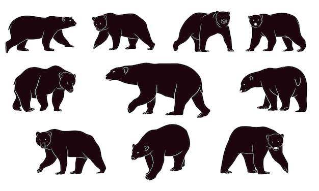 Dibujado a mano silueta de osos