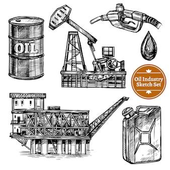 Dibujado a mano sketch oil industry set