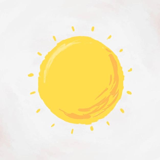 Dibujado a mano sol elemento vector lindo pegatina
