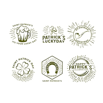 Dibujado a mano st. colección de etiquetas del día de patrick