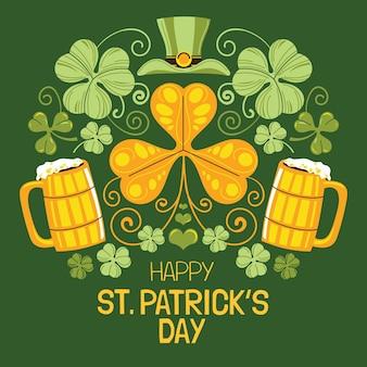 Dibujado a mano st. jarras de cerveza del día de patrick