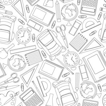 Dibujado a mano suministros escolares sin patrón. ilustracion vectorial