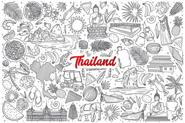 Dibujado a mano tailandia doodle establece fondo con letras rojas