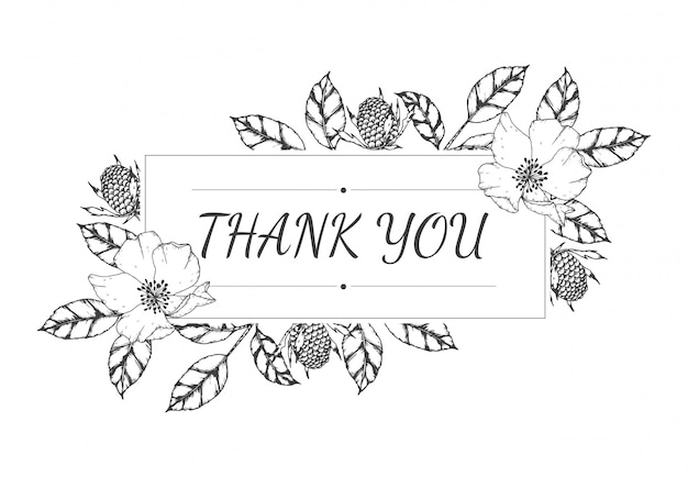 Dibujado a mano de tarjeta de agradecimiento floral vacío