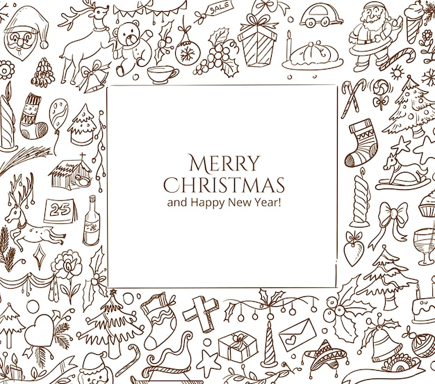 Dibujado a mano tarjeta de dibujo de doodle de navidad