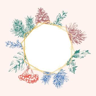 Dibujado a mano tarjeta de invitación de navidad y año nuevo. ilustración de vector dibujado a mano de corona retro sobre fondo claro. colección de vacaciones de invierno