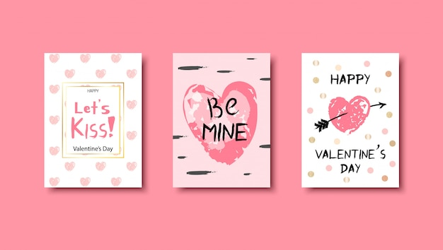 Dibujado a mano tarjetas de amor conjunto