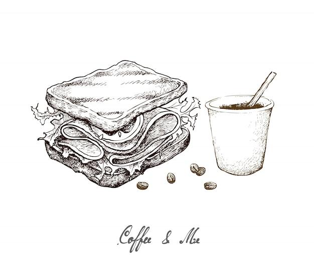 Dibujado a mano de una taza de café desechable con sándwich a la parrilla