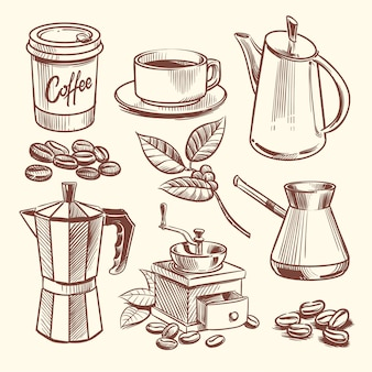 Dibujado a mano taza de café, frijoles, hojas, cafetera y molinillo de café ilustración vectorial