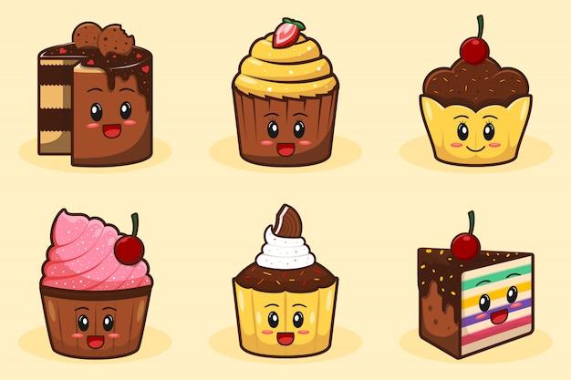 Dibujado a mano taza pastel y muffin de dibujos animados lindo