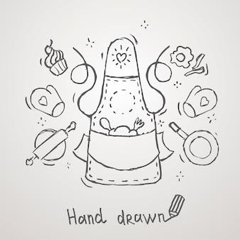 Dibujado a mano tema de cocina delantal vector diseño