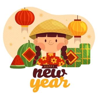 Dibujado a mano têt año nuevo vietnamita