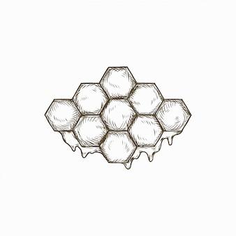 Dibujado a mano textura de colmena de abeja vintage