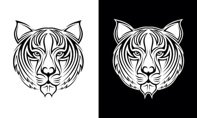 Dibujado a mano tigre cabeza tatuaje diseño vectorial
