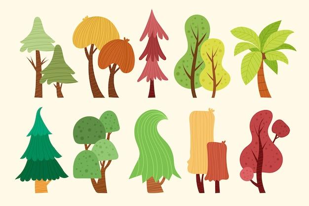 Dibujado a mano tipo de árboles coloridos