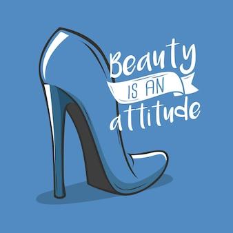 Dibujado a mano tipografía belleza y actitud diseño