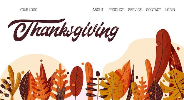 Dibujado a mano tipografía feliz de acción de gracias. texto de celebración con hojas, plantilla de página de destino