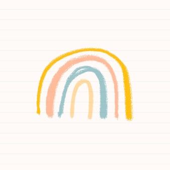 Dibujado a mano tiza arco iris vector diario lindo doodle para niños