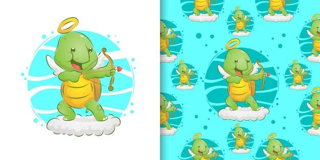 Dibujado a mano de la tortuga ángel sosteniendo la flecha del amor en la nube en el patrón establecido de la ilustración