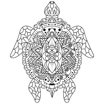 Dibujado a mano de tortuga en estilo zentangle