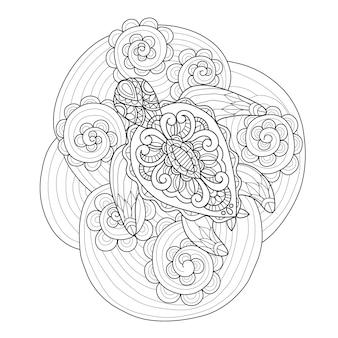 Dibujado a mano tortuga marina