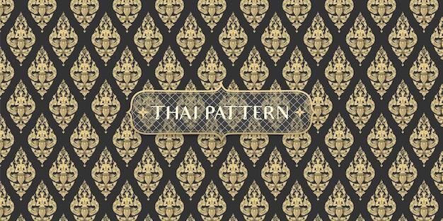 Dibujado a mano tradicional abstracto fondo de patrón de ángulo tailandés negro y dorado
