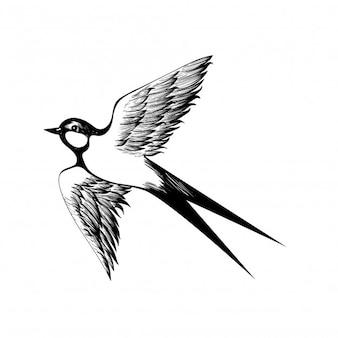 Dibujado a mano tragar doodle sombreado estilo grabado