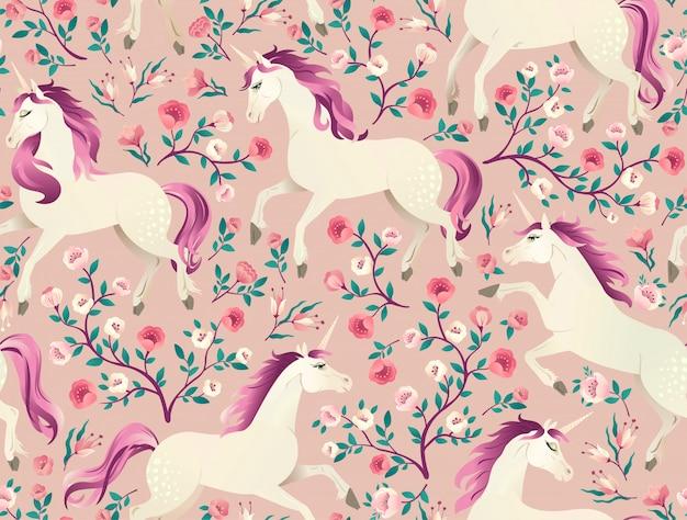 Dibujado a mano unicornio vintage en el bosque mágico de patrones sin fisuras