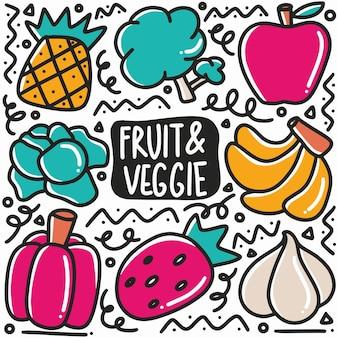 Dibujado a mano variación doodle de frutas y verduras con iconos y elementos de diseño