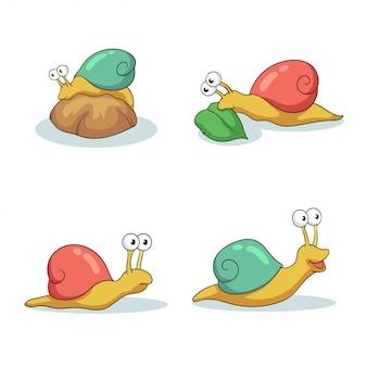 Dibujado a mano varias actividades de caracoles