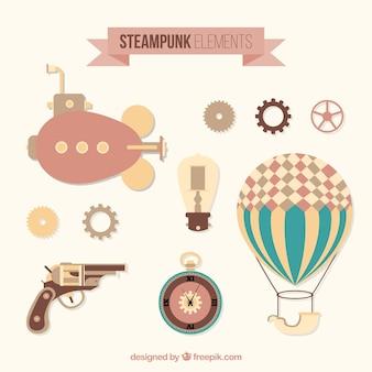 Dibujado a mano variedad de elementos steampunk