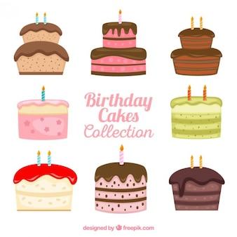 Dibujado a mano variedad de pasteles de cumpleaños