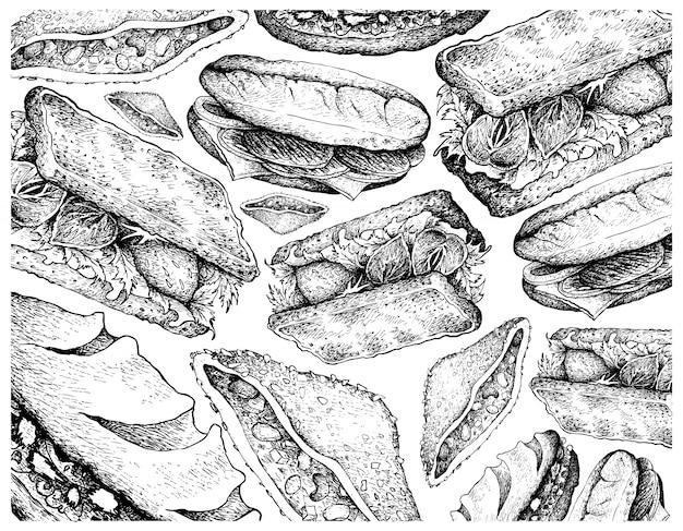 Dibujado a mano de varios sándwiches sobre fondo blanco