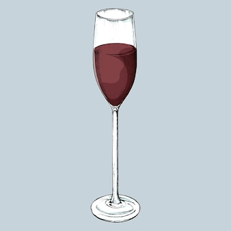 Dibujado a mano vaso de vino tinto