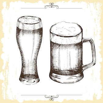 Dibujado a mano vasos de cerveza.