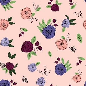Dibujado a mano vector floral de patrones sin fisuras