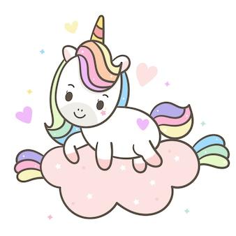 Dibujado a mano vector kawaii unicornio