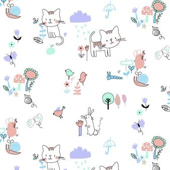 Dibujado a mano vector lindo patrón gatito