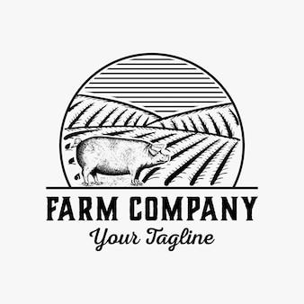 Dibujado a mano vector logo de granja