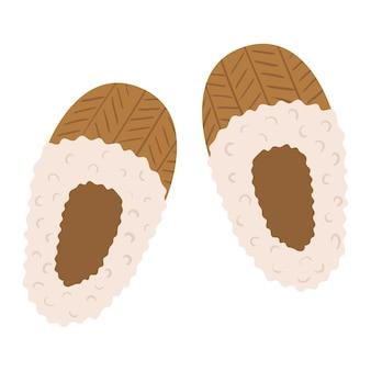 Dibujado a mano vector par de zapatillas de lana con piel de oveja decorativa