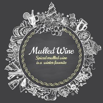 Dibujado a mano vector de vino caliente redondo banner. cartel boceto en blanco y negro. logotipo de menú y plantillas de diseño de emblema en estilo vintage retro.