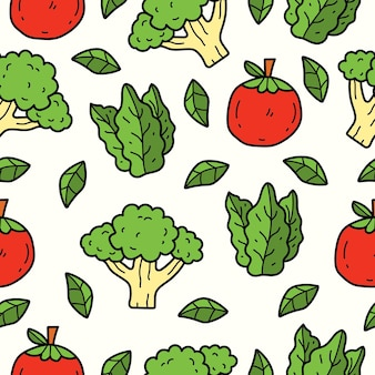 Dibujado a mano vegetal doodle dibujos animados diseño de patrones sin fisuras
