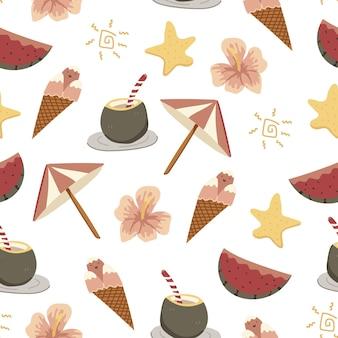 Dibujado a mano de verano colorido doodle de patrones sin fisuras