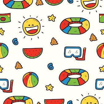 Dibujado a mano verano kawaii doodle diseño de patrón de dibujos animados
